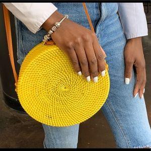 Yellow Rattan Shoulder Bag